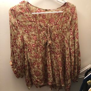 Free people boho tie up floral blouse